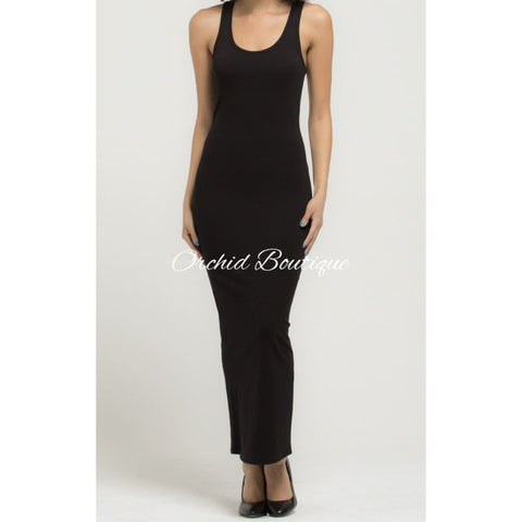 Helen Black Racerback Maxi Dress - Orchid Boutique