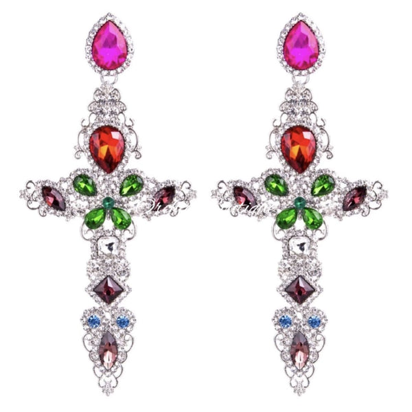 Holly Crystal Cross Chandelier Earrings - Orchid Boutique