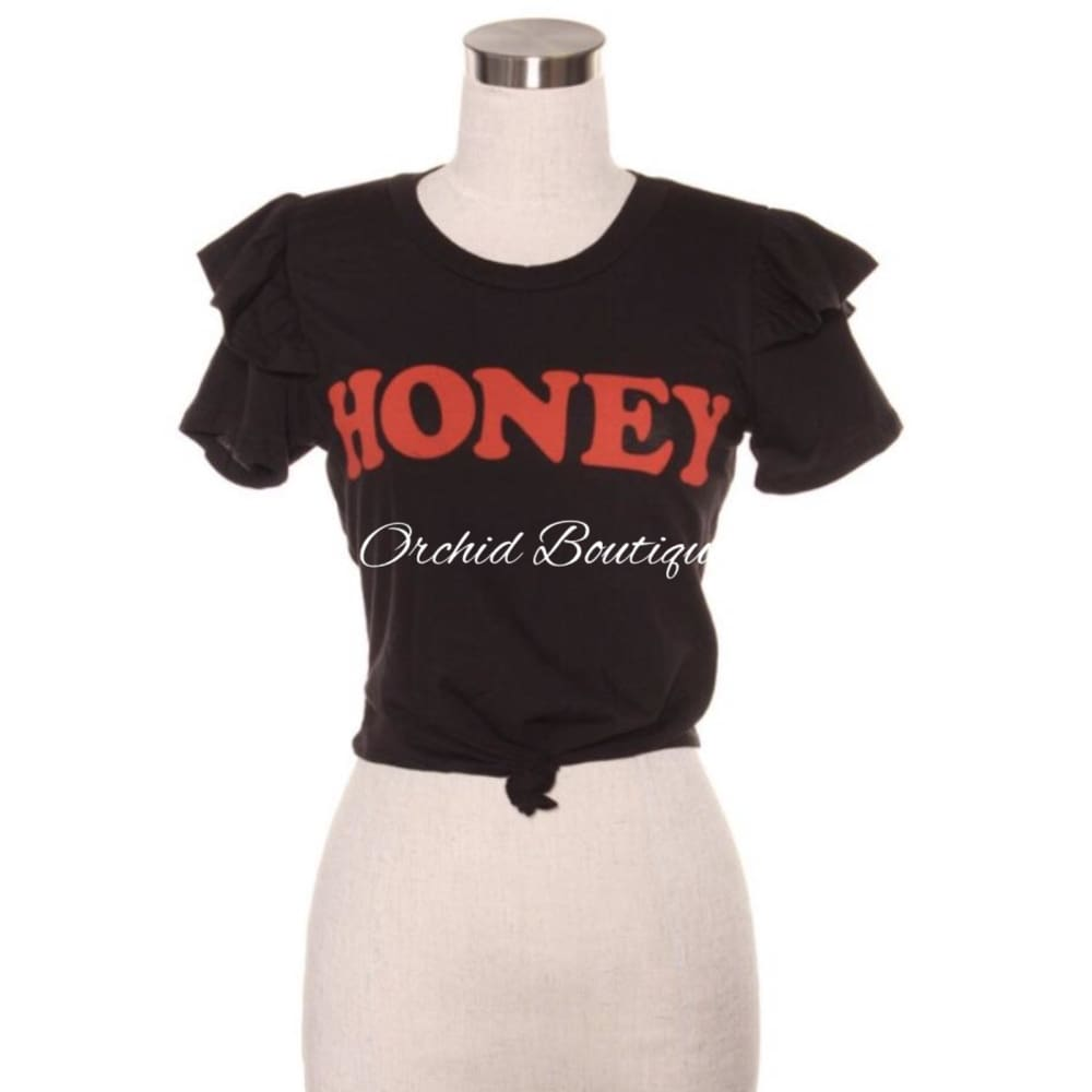 Honey Black Ruffle Crop Tee - Orchid Boutique