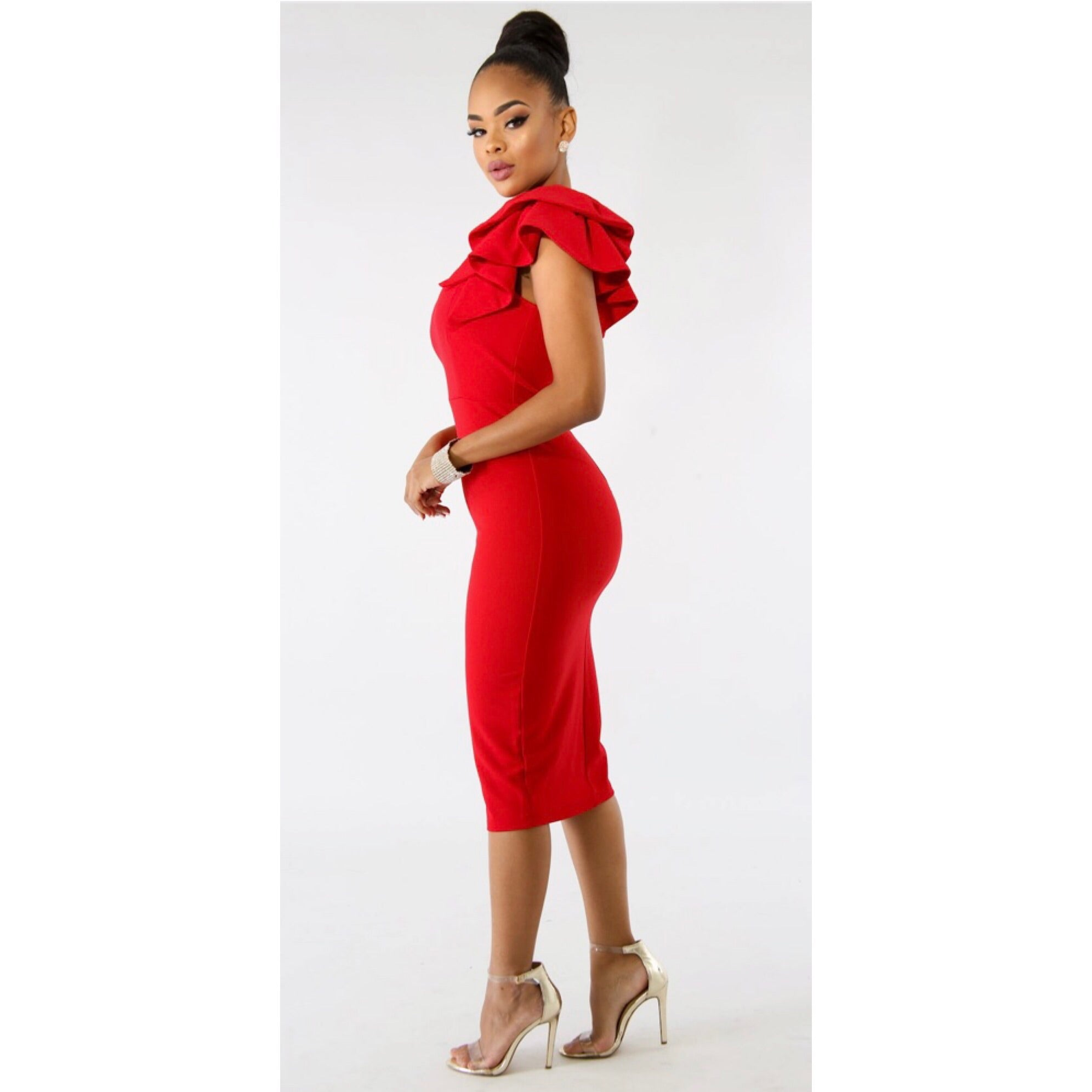 Kimora Red One Shoulder Midi Dress