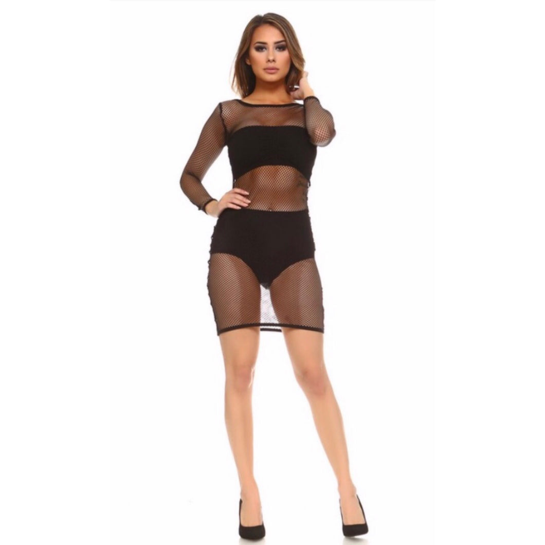 Fiona Black Mesh Mini Dress