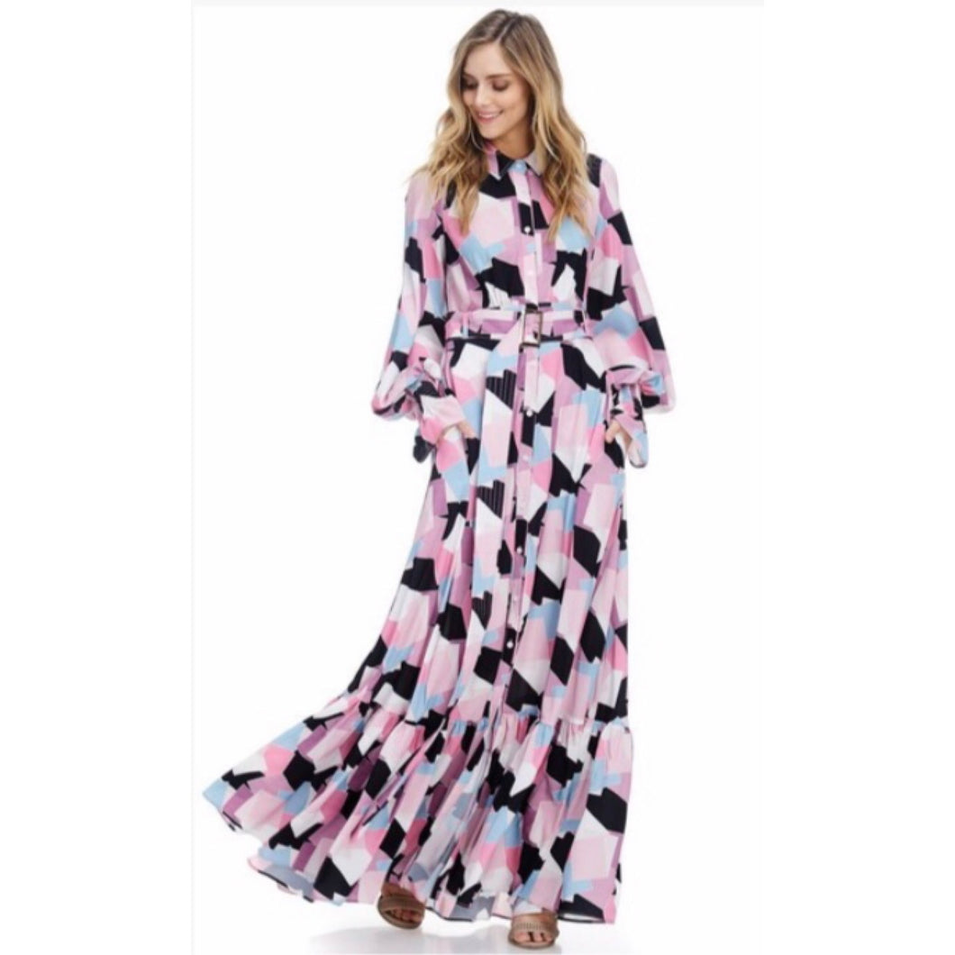 Naomi Pink Abstract Luxe Maxi Dress