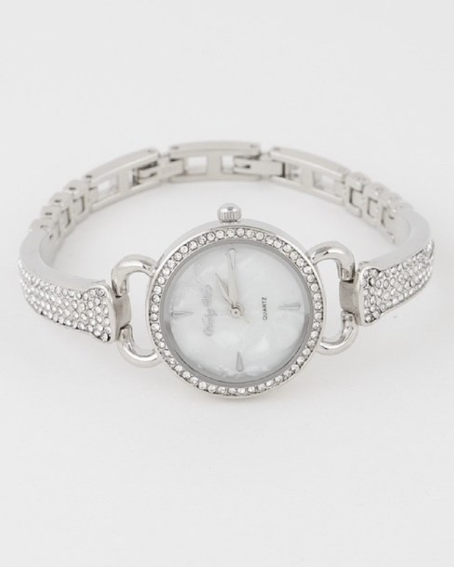 Mother Of Pearl Rhinestone Watch