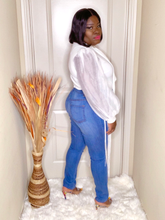 Load image into Gallery viewer, Fringe My Way Blue High Waist Jeans