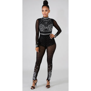 Marquis Black Crystal Jumpsuit