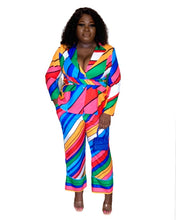 Load image into Gallery viewer, Curvy Rainbow Jacket Pant Set