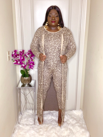 Bella Leopard Cardigan Two Piece Set