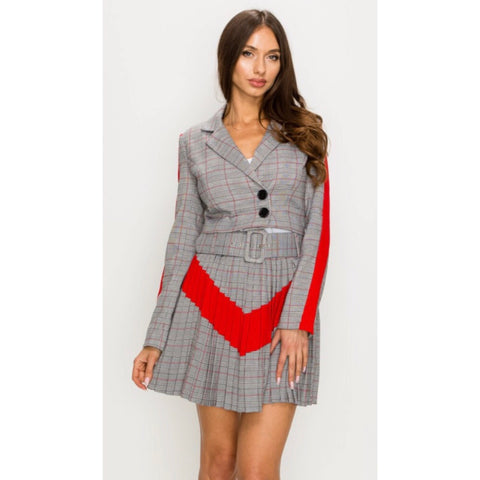 Sharon Grey Plaid Pleated Two Piece Set