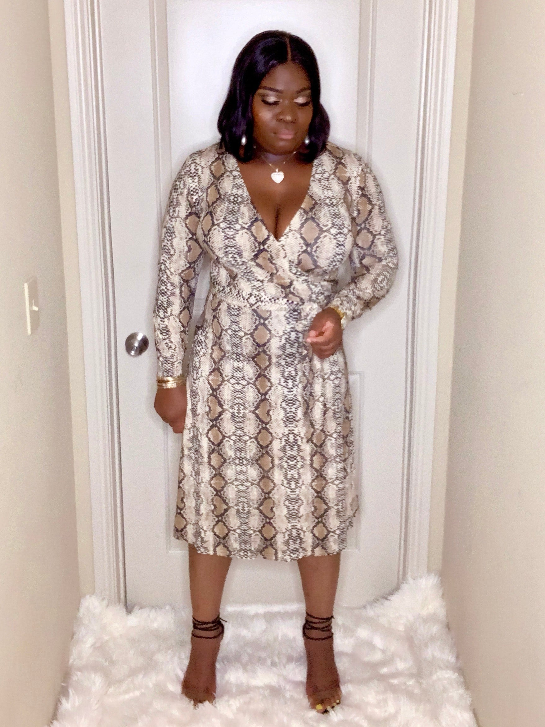 Veronica Nude Snake Midi Dress