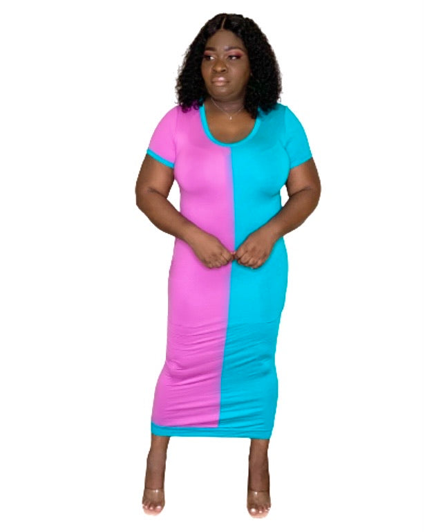Selena Color Block Midi Dress