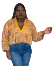 Load image into Gallery viewer, Fringe Knit Crop Sweater Top