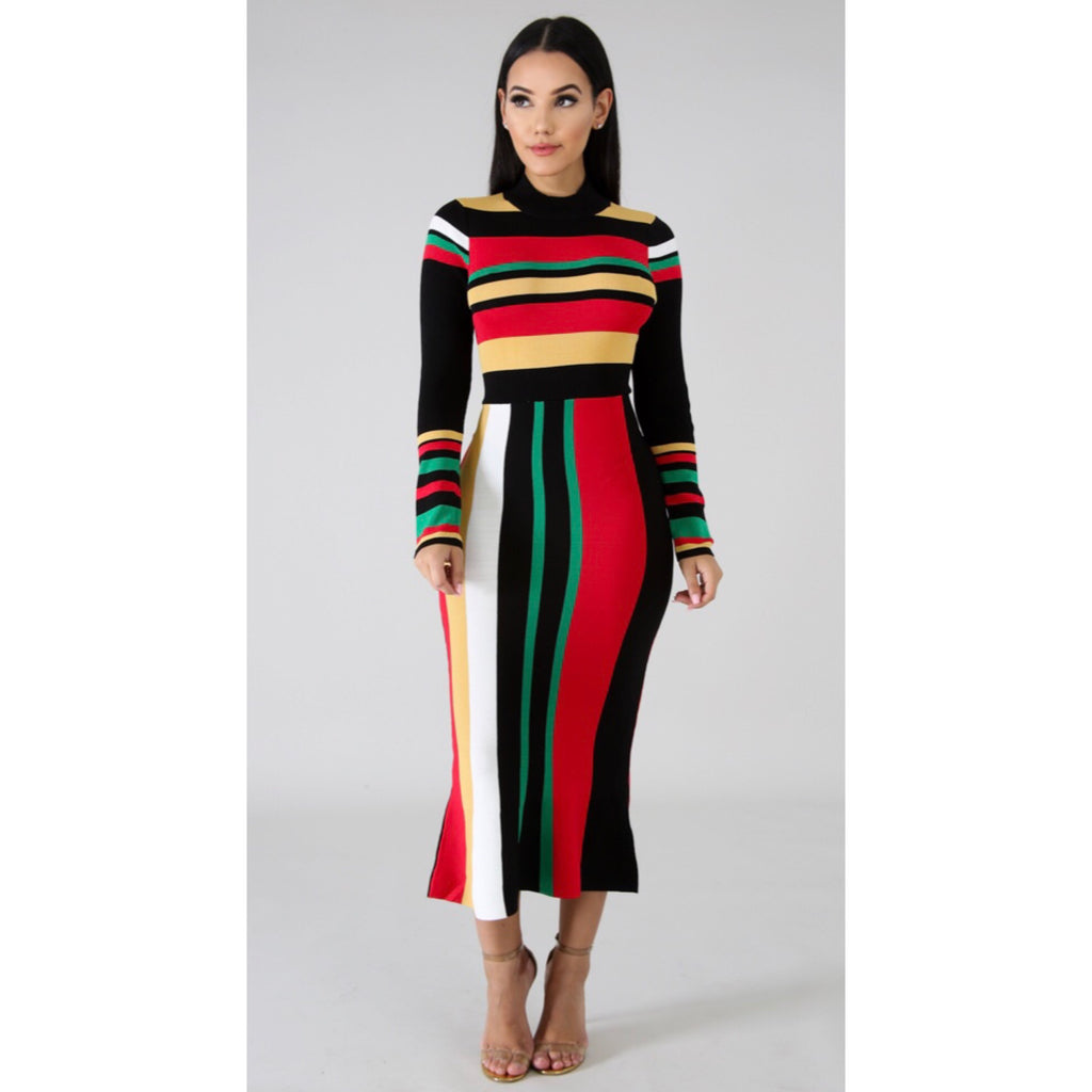 Gianna Red Multi Midi Dress
