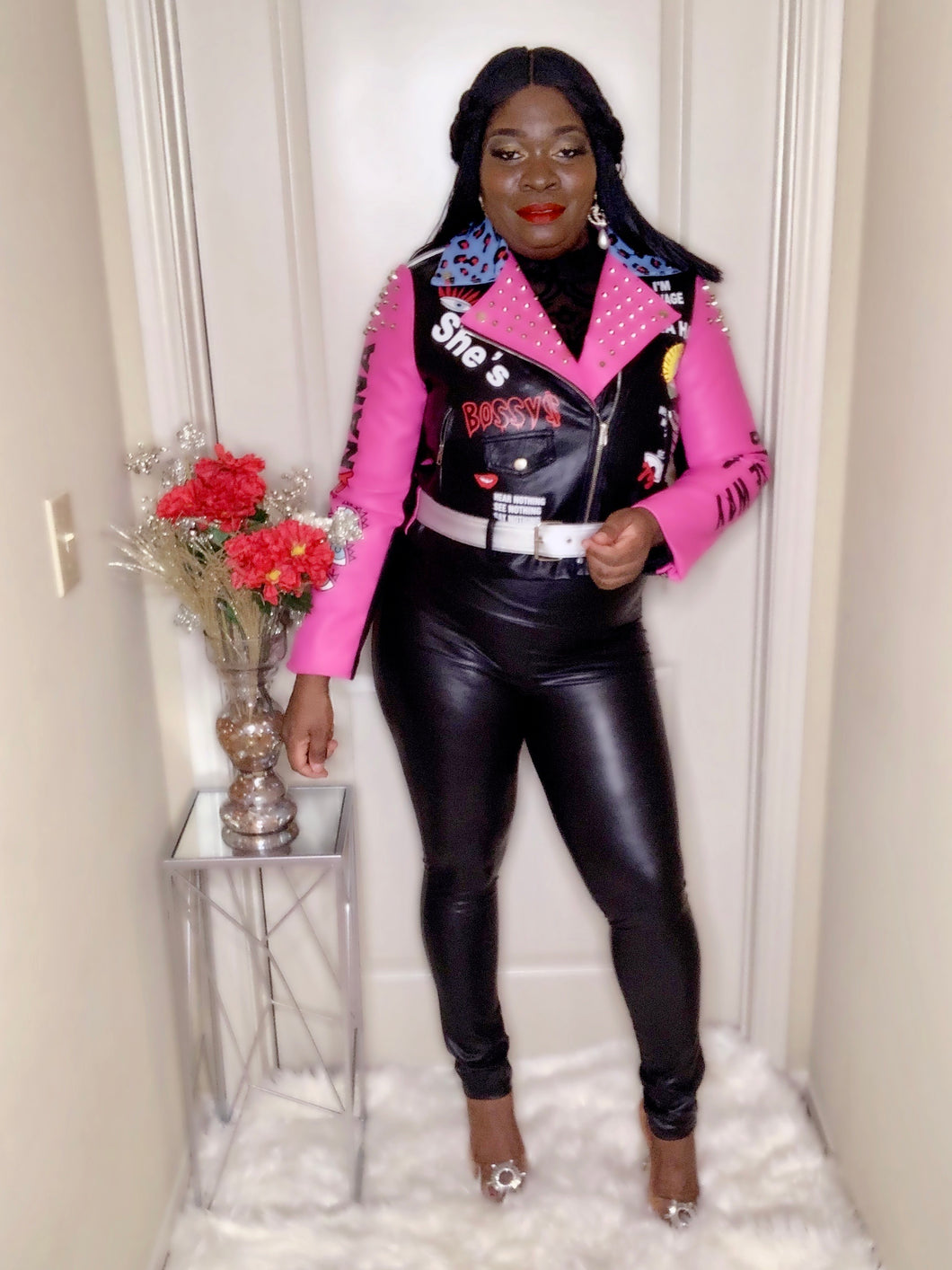 Boss Lady Pink Moto Jacket