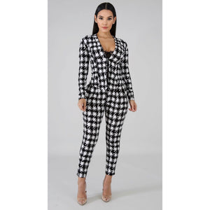 Amina Houndstooth Blazer Two Piece Set