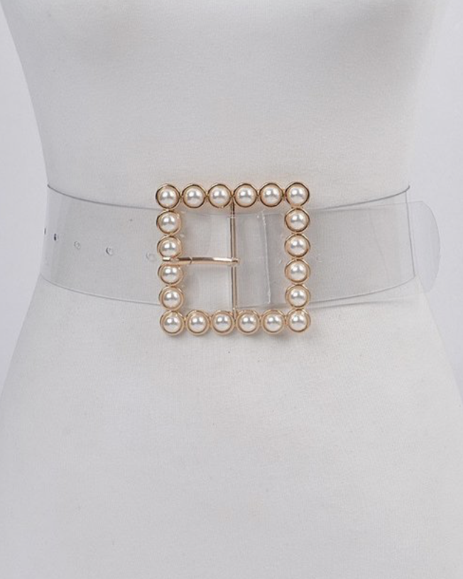 Clear Pearl Buckle Belt