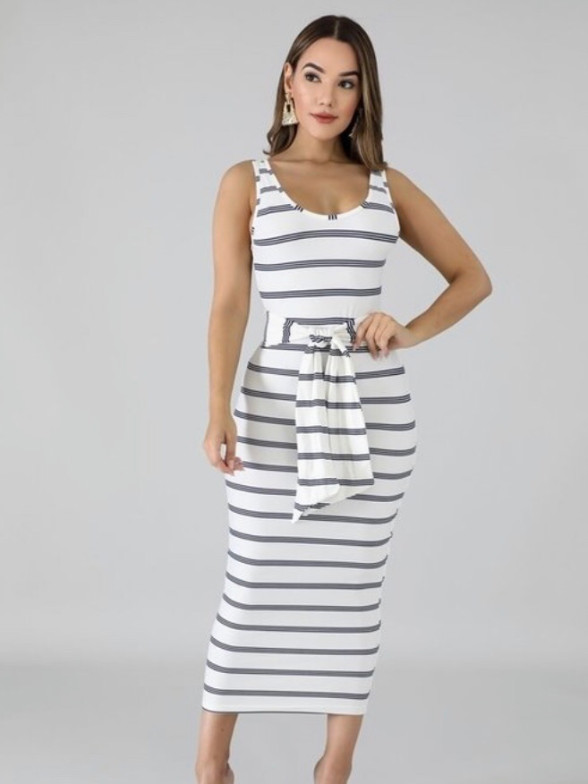 Sasha Navy Strip Midi Dress