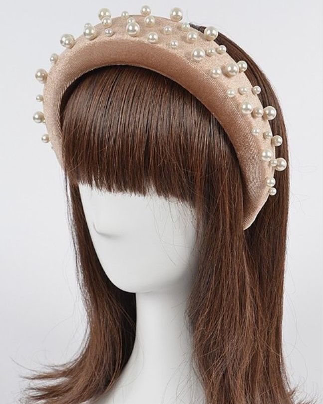 Velvet with Pearl Headband