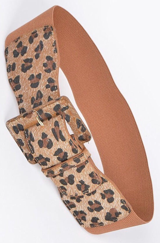 Leopard Stretch Buckle Belt