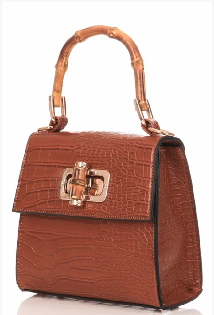 Croc Embossed Faux Leather Bag