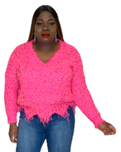 Load image into Gallery viewer, Neon Pink Distressed Sweater