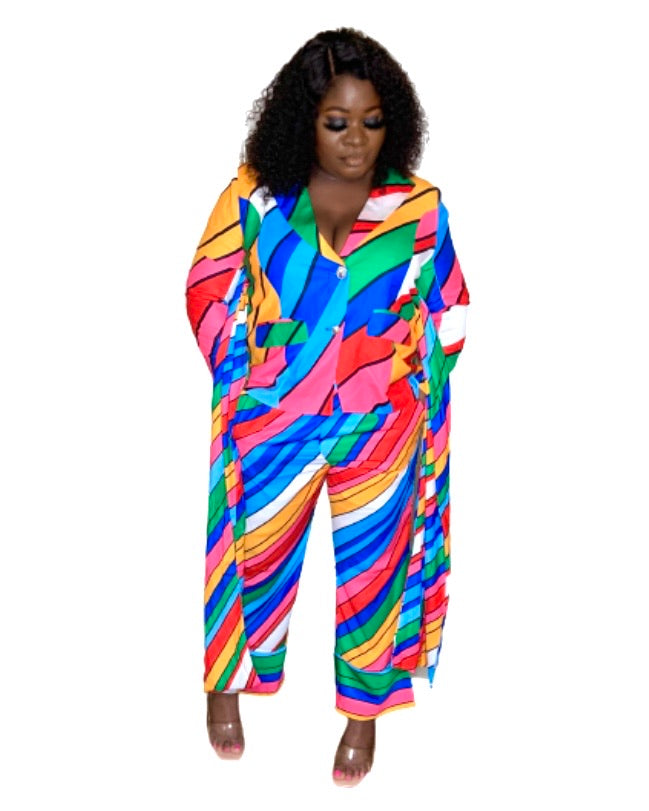 Curvy Rainbow Jacket Pant Set