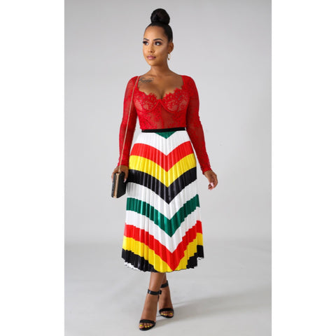 Chevron Multicolor Pleated Midi Skirt