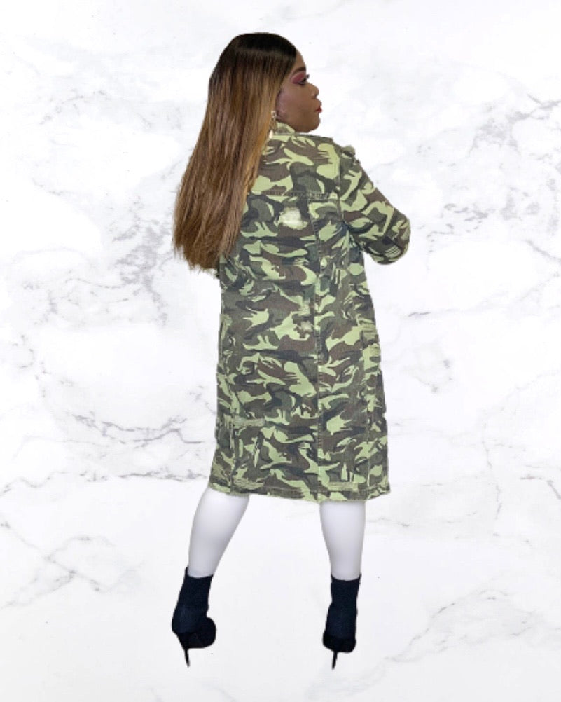 Cary Longline Camo Denim Jacket