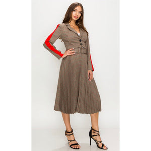 Sharon Brown Plaid Pleated Two Piece Set