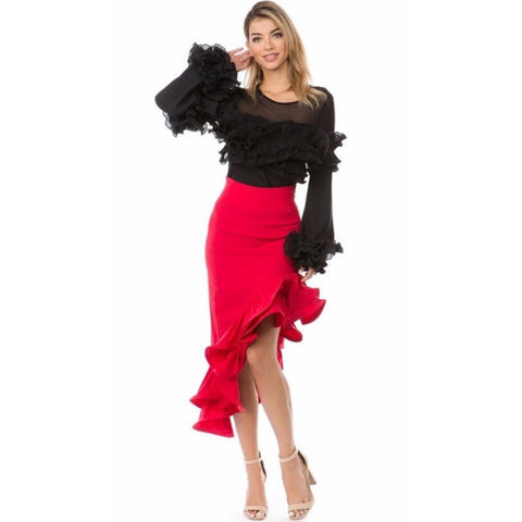 Trish Red Ruffle Midi Skirt