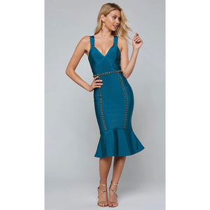 Emilia Blue Bandage Midi Dress
