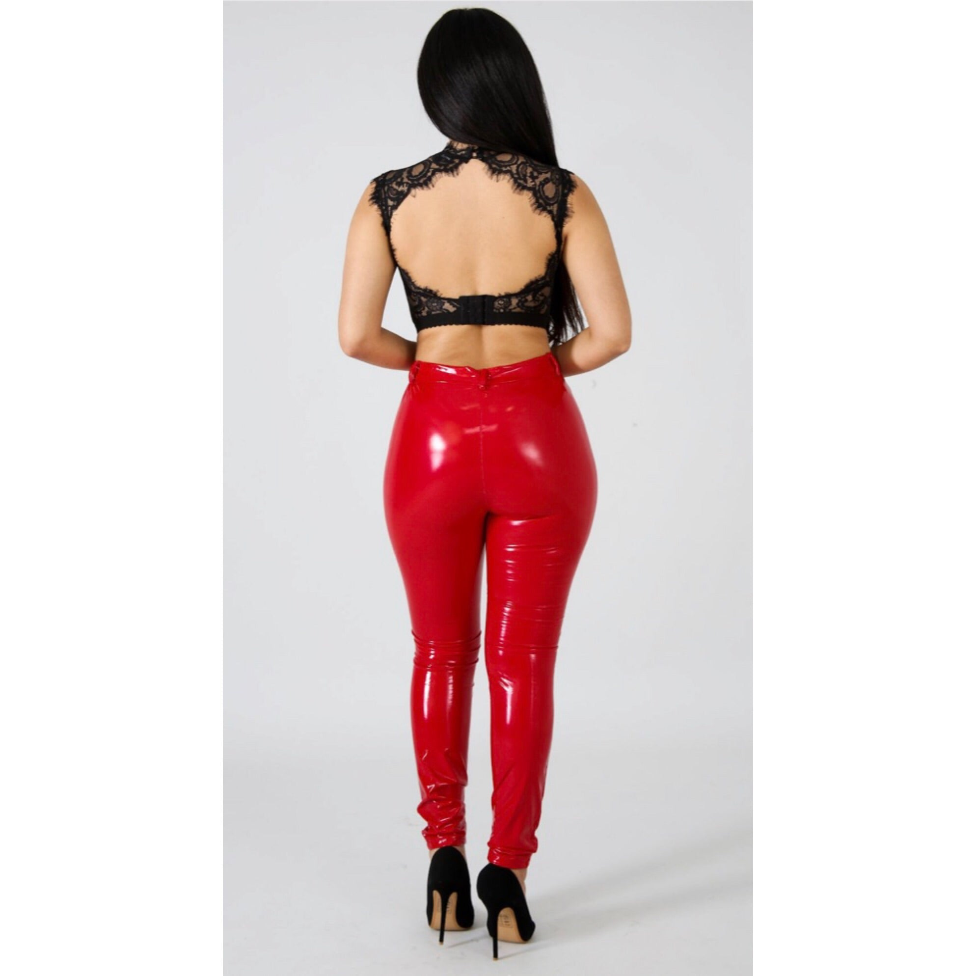 Heather Red Vinyl Liquid Pants