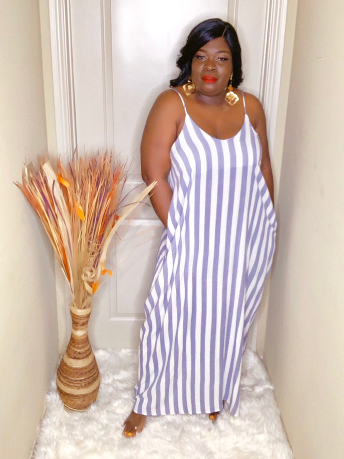 Curvy Lisa Stripe Maxi Dress