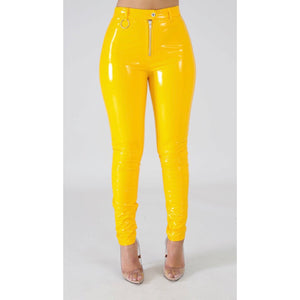 Heather Yellow Vinyl Liquid Pants