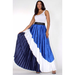 Gretchen Multi Pleated Satin Maxi Skirt