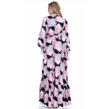 Load image into Gallery viewer, Naomi Pink Abstract Luxe Maxi Dress
