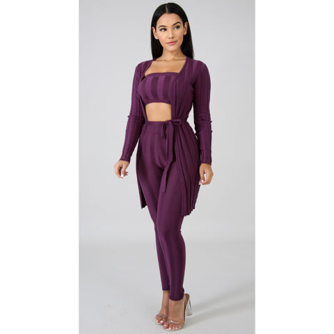 Sherri Purple Three Piece Set