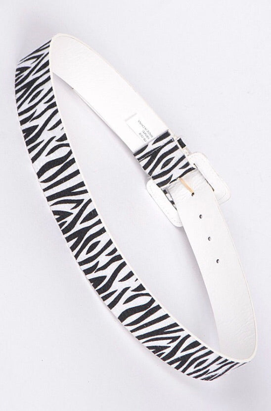 Zebra Print Buckle Belt