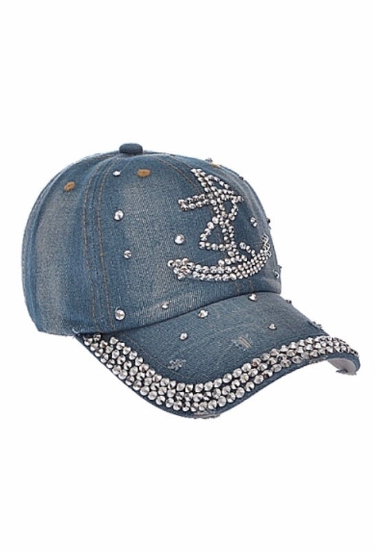 Sailor Rhinestone Studded Cap