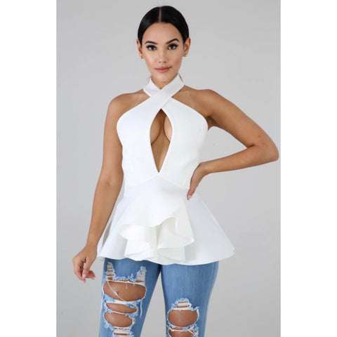 Lala White Peplum Top