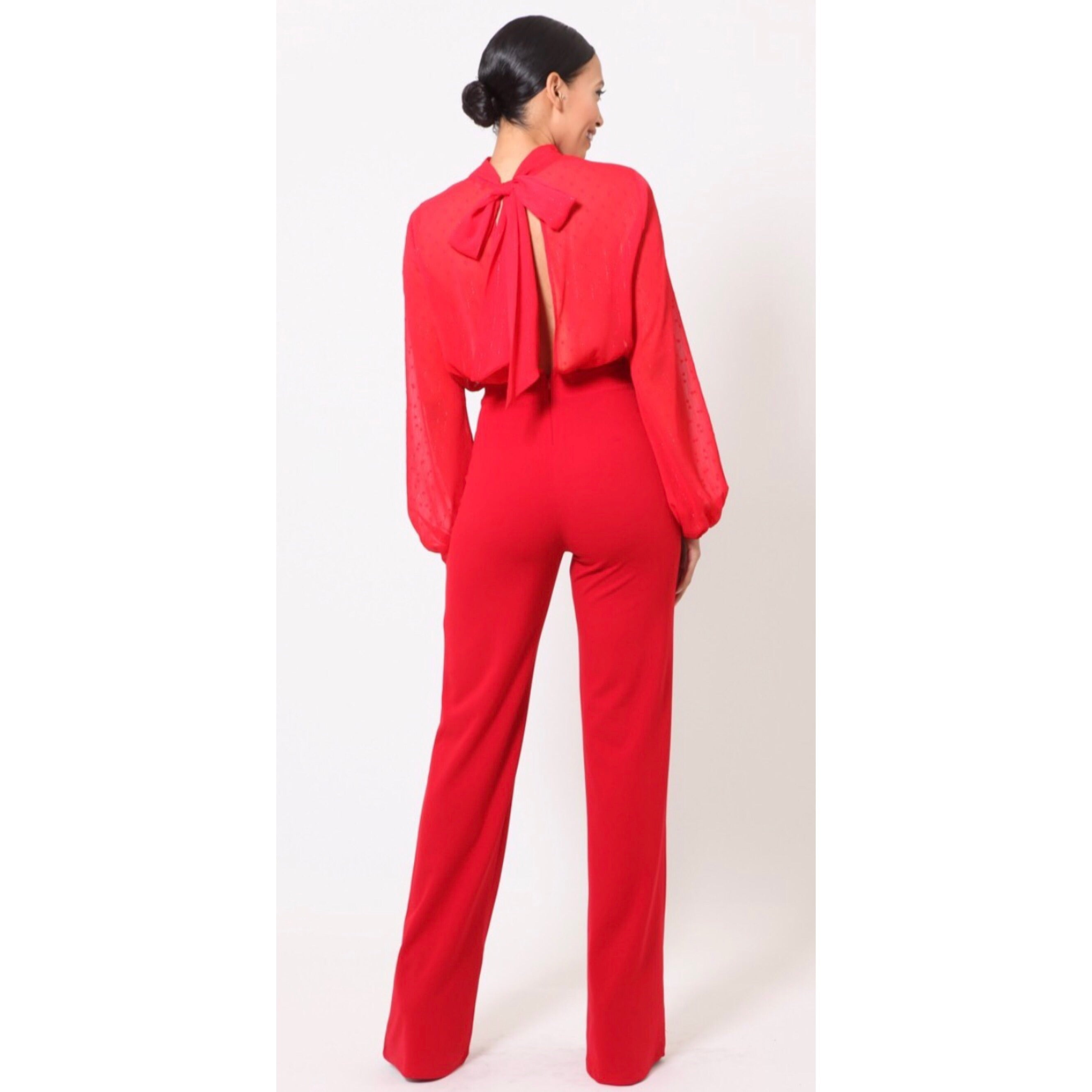 Kimora Red Luxe Jumpsuit