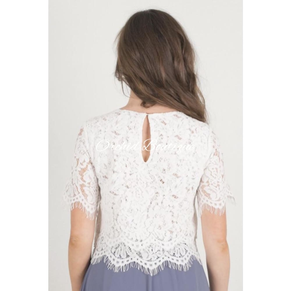 Jada White Lacey Blouse - Orchid Boutique