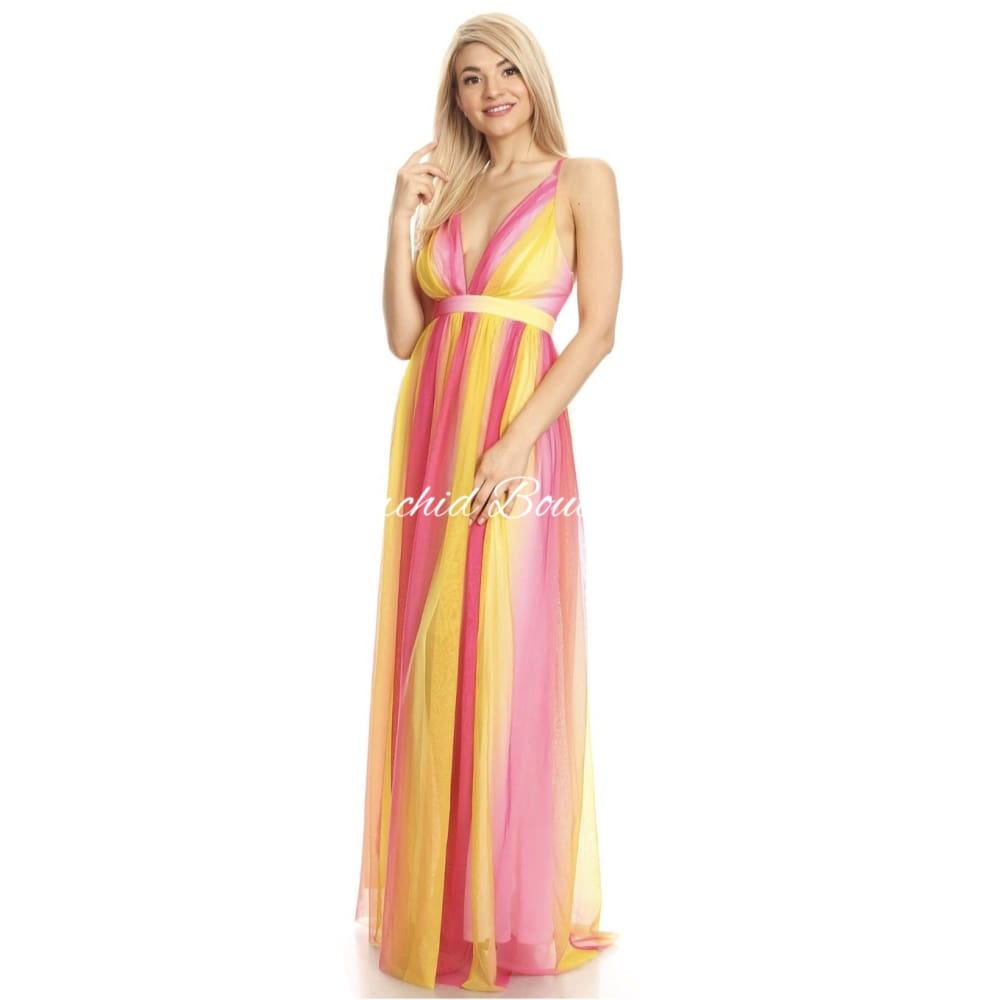 Jemima Yellow/ Pink Multi Maxi Dress - Orchid Boutique