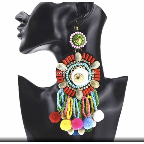 Jenna Multicolor PomPom Hobo Earrings - Orchid Boutique