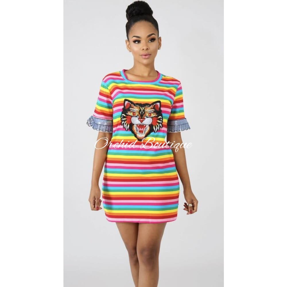 Juicy Multicolor Stripe Mini Dress - Orchid Boutique