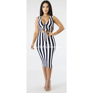 Jules Navy/White Bodycon Midi Dress - Orchid Boutique