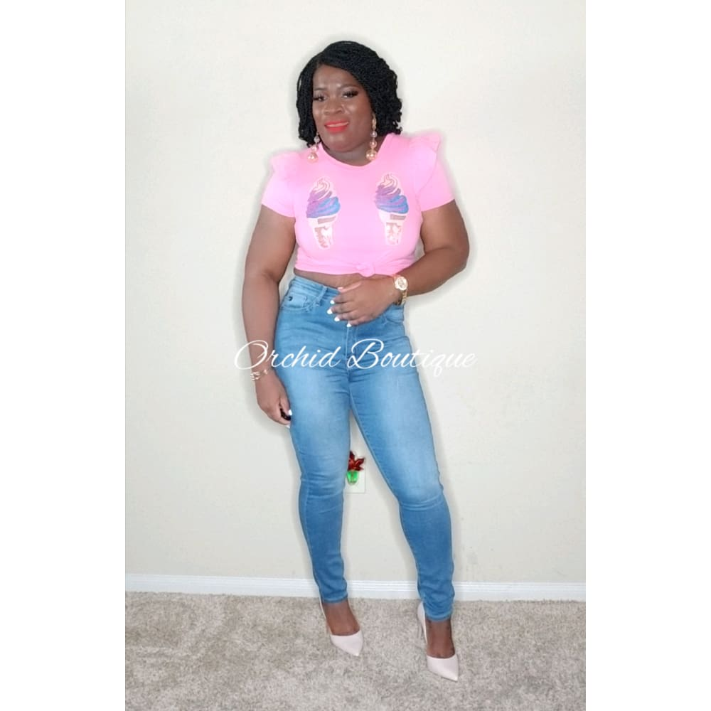 Justina Blue Light Wash High Waist Jeans - Orchid Boutique