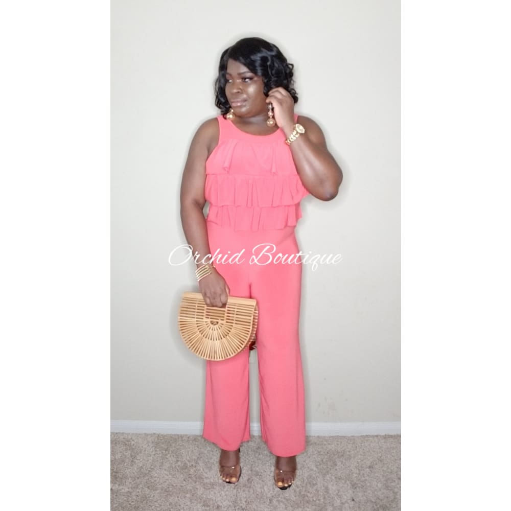 Kathy Peach Jumpsuit - Orchid Boutique