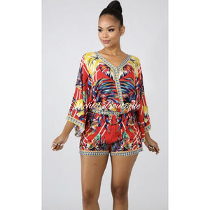 Kauai Red Multi Color Leaf Print Two Piece Set - Orchid Boutique