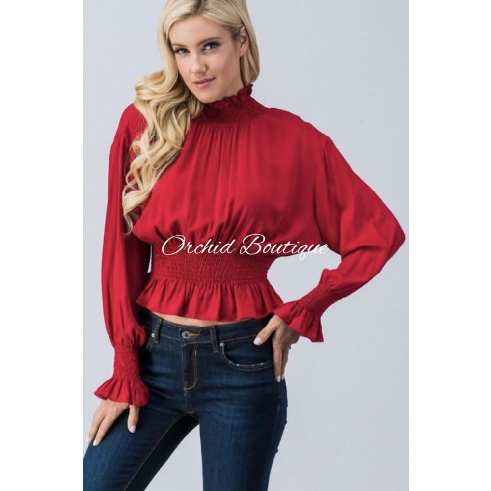 Kaylee Red Dolman Sleeve Crop Top - Orchid Boutique
