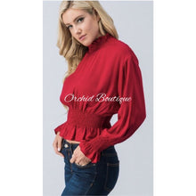 Load image into Gallery viewer, Kaylee Red Dolman Sleeve Crop Top - Orchid Boutique